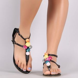 CAPE ROBBIN Leela Colorful Sequin Black Sandals